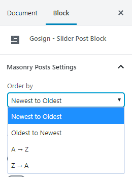 Post slider block backend settings