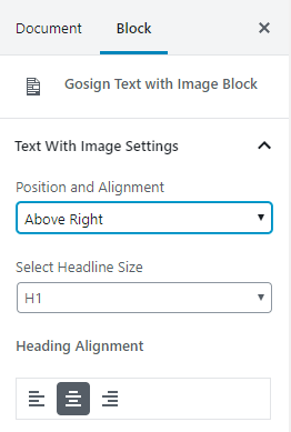 Gosign text with image block