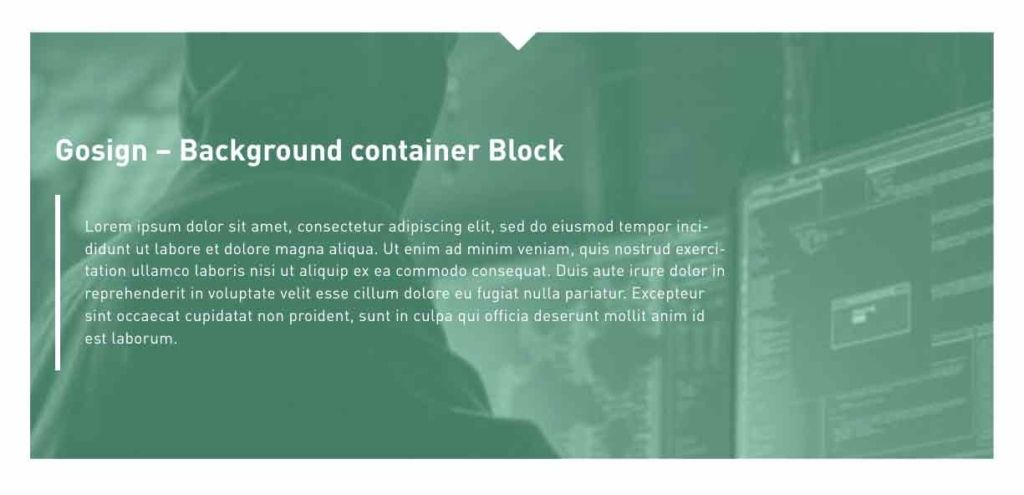 Gosign background container block banner image