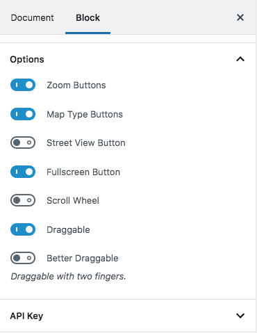 - map options