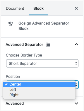 Gosign Advanced Separator shortSeparator option - separator5